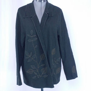 Jones New York Wool Floral Button Cardigan Green